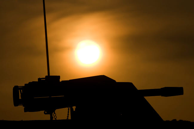 TMO100078M © Stocktrek Images, Inc. Silhouette of a Mk 19 automatic grenade launcher.