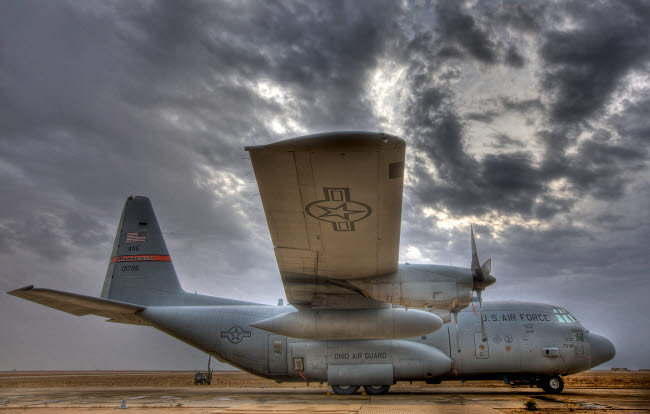 TMO100815M © Stocktrek Images, Inc. High dynamic range image of a U.S. Air Force C-130 Hercules.