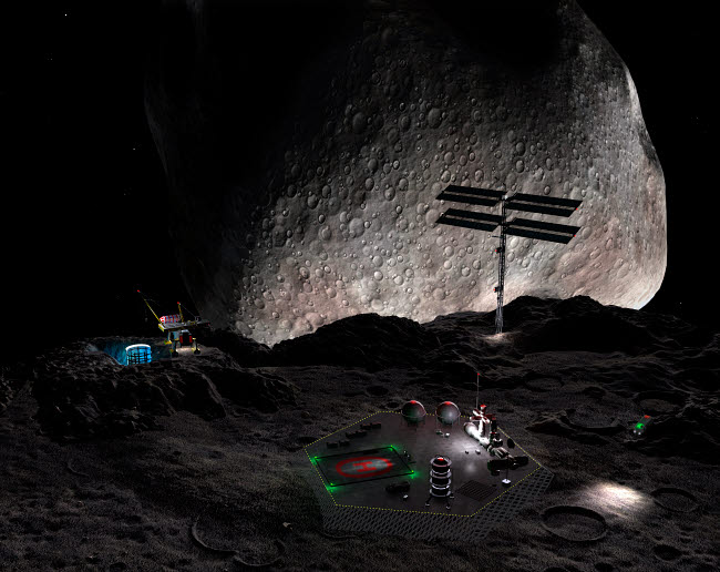 WMY100003S © Stocktrek Images, Inc. Artist's concept of a mining settlement on the double asteroid 90 Antiope.