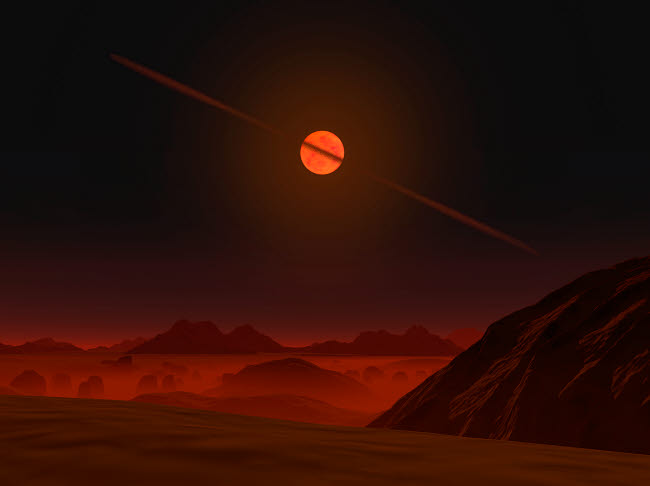 WMY100004S © Stocktrek Images, Inc. A view across a hypothetical primitive alien planet towards a brown dwarf in the sky.