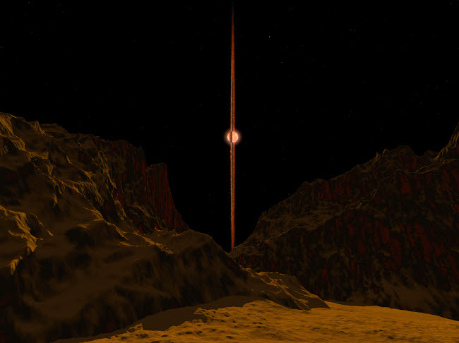 WMY100005S © Stocktrek Images, Inc. A view across a hypothetical primitive alien planet towards a brown dwarf in the sky.