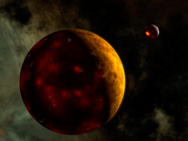 WMY100015S © Stocktrek Images, Inc. Artist's concept of a young, turbulent Earth.