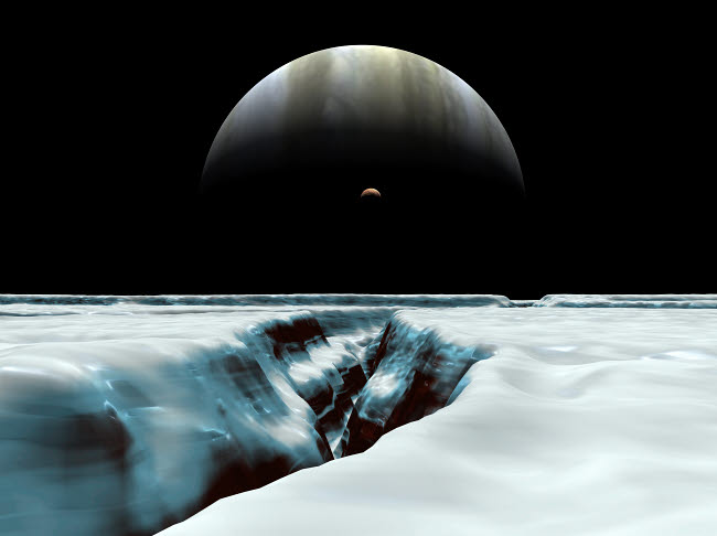 WMY100019S © Stocktrek Images, Inc. A crescent Jupiter and volcanic satellite, Io, hover over the horizon of the icy moon of Europa.