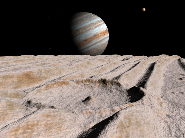 WMY100022S © Stocktrek Images, Inc. Artist's concept of an impact crater on Jupiter's moon Ganymede, with Jupiter on the horizon.