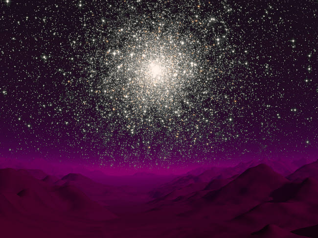 WMY100028S © Stocktrek Images, Inc. Illustration of a globular cluster over the terrain of a barren planet.