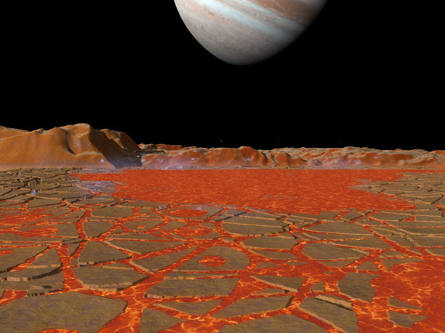 WMY100031S © Stocktrek Images, Inc. Artist's concept of a view across a pool of lava on the surface of Io, towards Jupiter.