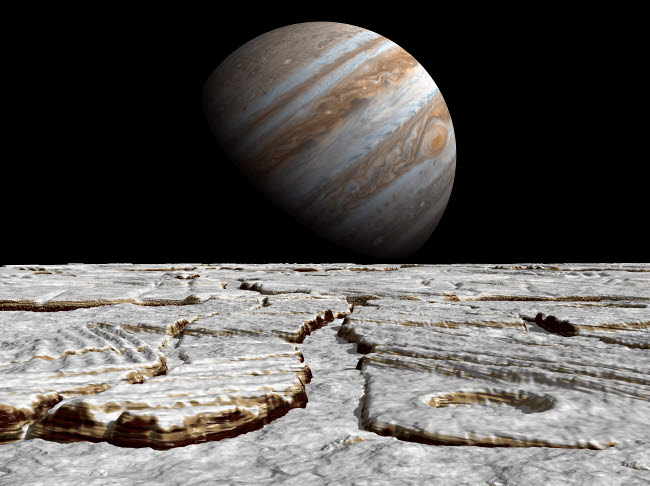 WMY100033S © Stocktrek Images, Inc. Artist's concept of Jupiter as seen across the icy surface of its moon Europa.