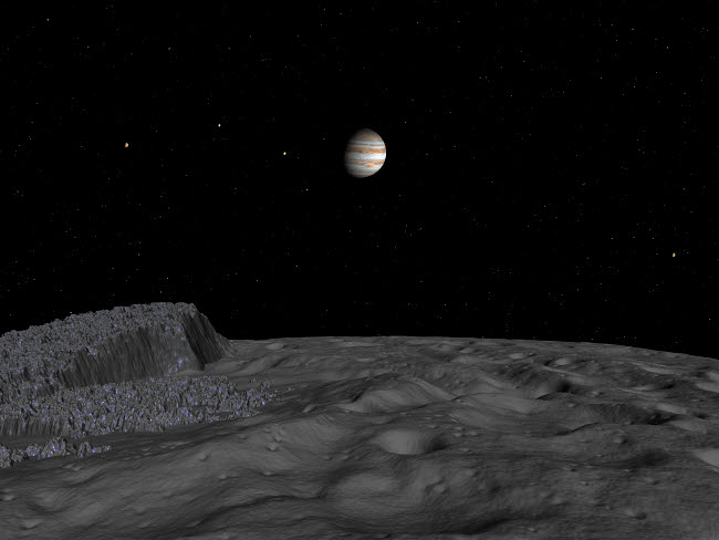 WMY100035S © Stocktrek Images, Inc. Artist's concept of a view across the surface of Themisto towards Jupiter and its moons.