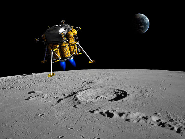 WMY100041S © Stocktrek Images, Inc. A lunar lander begins its descent to the moon's surface.