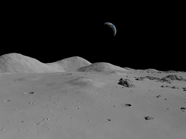 WMY100046S © Stocktrek Images, Inc. Artist's concept of a view across the surface of the Moon towards Earth in the distance.