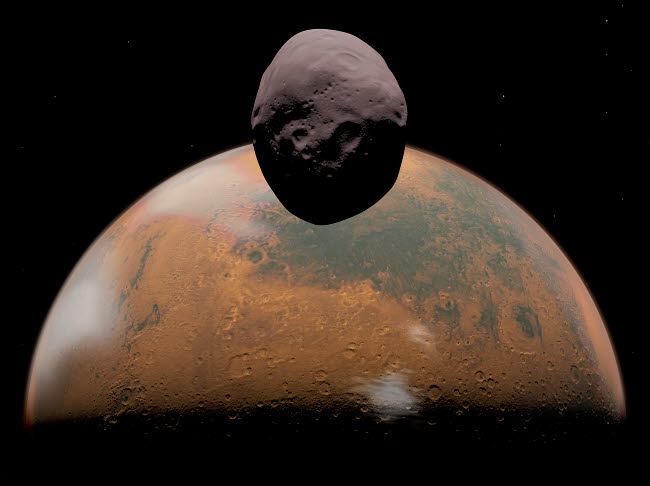 WMY100049S © Stocktrek Images, Inc. Artist's concept of Mars and its tiny moon Phobos.