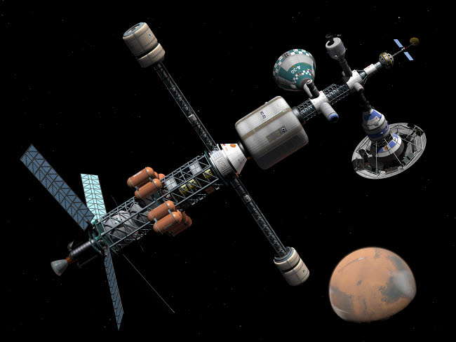WMY100055S © Stocktrek Images, Inc. A manned Mars cycler space station approaches the planet Mars.