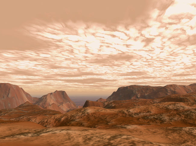 WMY100059S © Stocktrek Images, Inc. Artist's concept from atop Olympus Mons on the planet Mars.