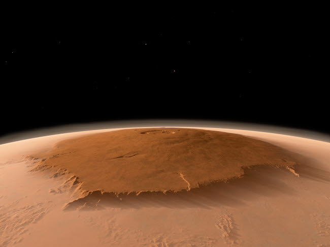 WMY100060S © Stocktrek Images, Inc. Artist's concept of the northwest side of the Olympus Mons volcano on Mars