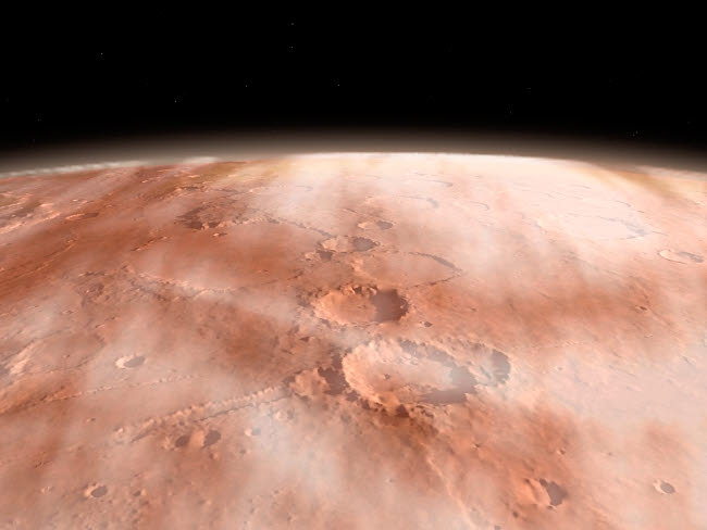 WMY100063S © Stocktrek Images, Inc. High altitude clouds of water ice crystals on the planet Mars.