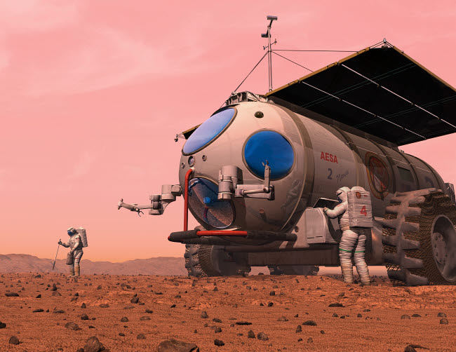 WMY100066S © Stocktrek Images, Inc. Artist's concept of how a martian motorhome might be realized.