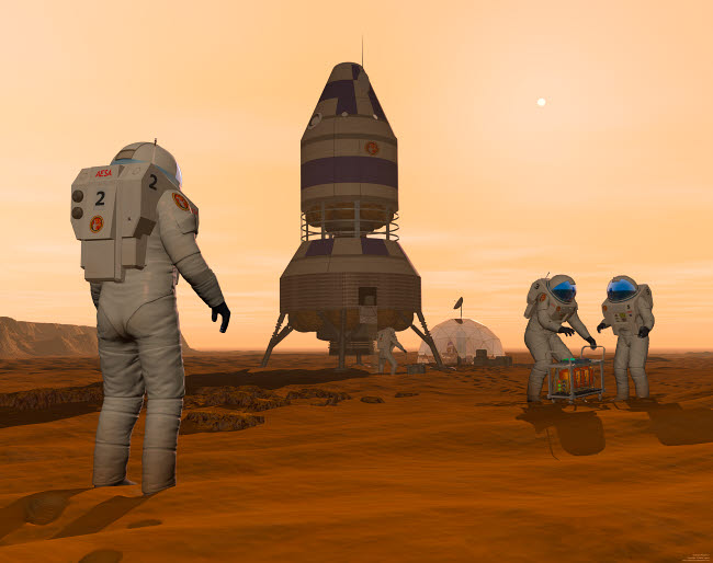 WMY100067S © Stocktrek Images, Inc. Illustration of astronauts setting up a base on the Martian surface around their lander vehicle.