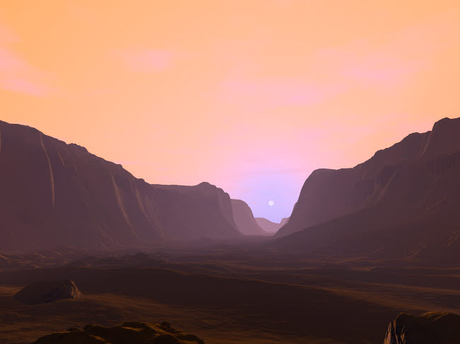 WMY100068S © Stocktrek Images, Inc. Illustration of a martian sunrise from within a deep canyon.