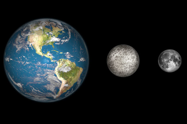 WMY100070S © Stocktrek Images, Inc. Artist's concept of the Earth, Mercury, and Earth's moon to scale.