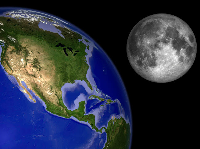 WMY100073S © Stocktrek Images, Inc. Artist's concept of the Earth and its moon.