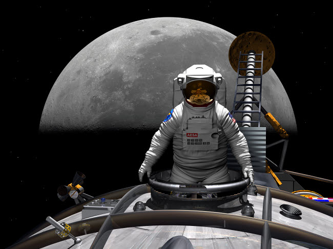 WMY100074S © Stocktrek Images, Inc. An astronaut takes a last look at Earth before entering orbit around the moon.