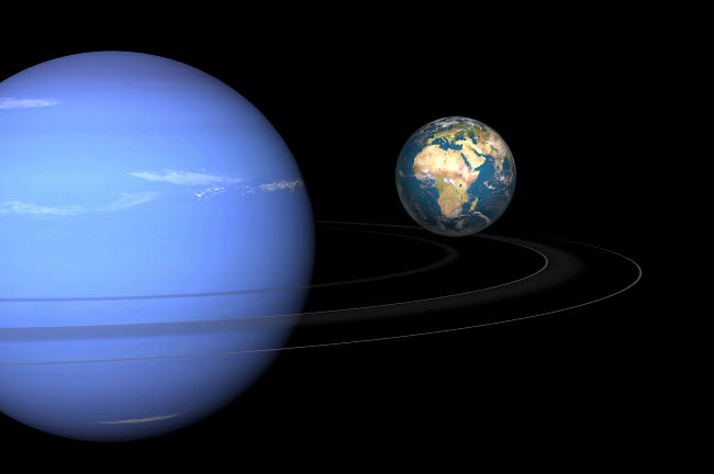 WMY100078S © Stocktrek Images, Inc. Artist' concept of Neptune and Earth.
