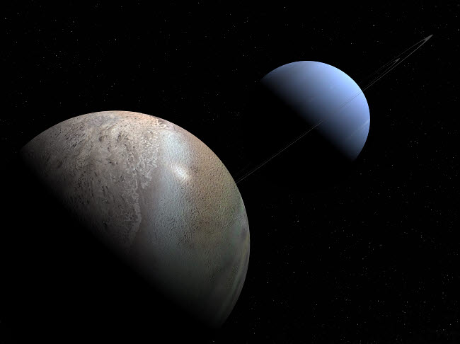 WMY100079S © Stocktrek Images, Inc. Illustration of the gas giant planet Neptune and its largest moon Triton.