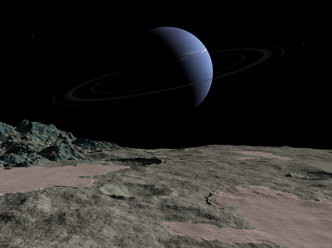 WMY100080S © Stocktrek Images, Inc. Illustration of the gas giant Neptune as seen from the surface of its moon Triton.