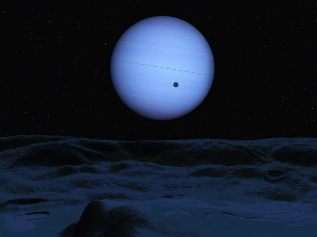 WMY100083S © Stocktrek Images, Inc. Artist's concept of Neptune as seen from its largest moon Triton.