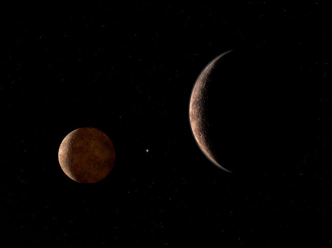 WMY100085S © Stocktrek Images, Inc. Artist's concept of Pluto and its moon Charon.