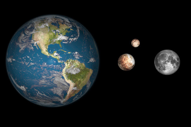 WMY100086S © Stocktrek Images, Inc. Artist's concept of the Earth, Pluto, Charon, and Earth's moon to scale.