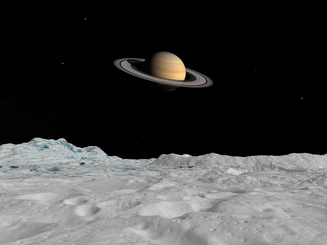 WMY100089S © Stocktrek Images, Inc. Artist's concept of Saturn as seen from the surface of its moon Iapetus.