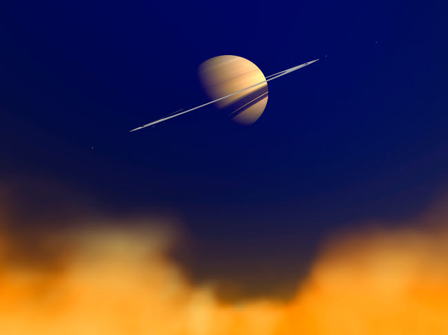 WMY100101S © Stocktrek Images, Inc. Artist's concept of Saturn amongst the hydrocarbon haze of its moon Titan.