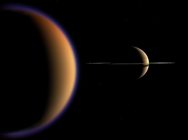 WMY100102S © Stocktrek Images, Inc. Artist's concept of Saturn and its moon Titan.
