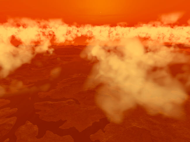 WMY100103S © Stocktrek Images, Inc. Artist's concept of methane clouds over Titan's south pole.