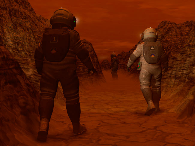 WMY100104S © Stocktrek Images, Inc. Artist's concept of astronauts exploring a dry gully on Saturn's moon Titan.
