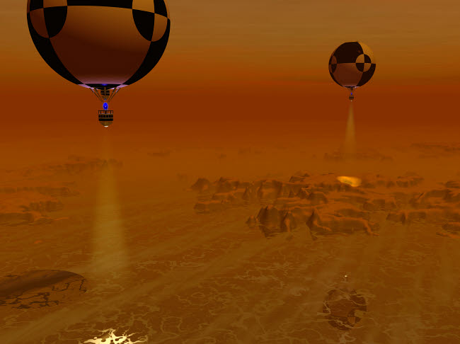 WMY100106S © Stocktrek Images, Inc. A pair of balloon-borne probes leisurely survey the surface of Titan.