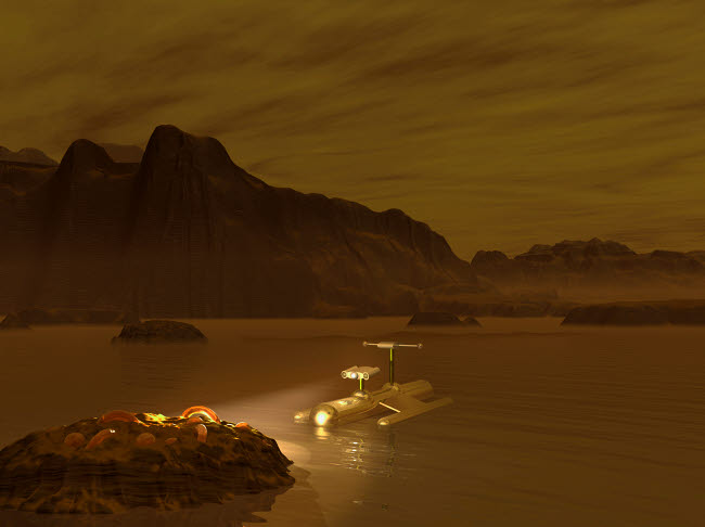 WMY100108S © Stocktrek Images, Inc. Artist's concept of a robotic probe exploring a frigid ethane lake on Titan.