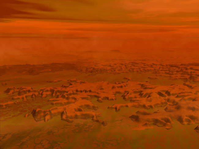 WMY100111S © Stocktrek Images, Inc. Artist's concept of the surface of Saturn's moon Titan.
