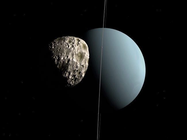 WMY100119S © Stocktrek Images, Inc. Artist's concept of how Uranus and its tiny moon Puck.