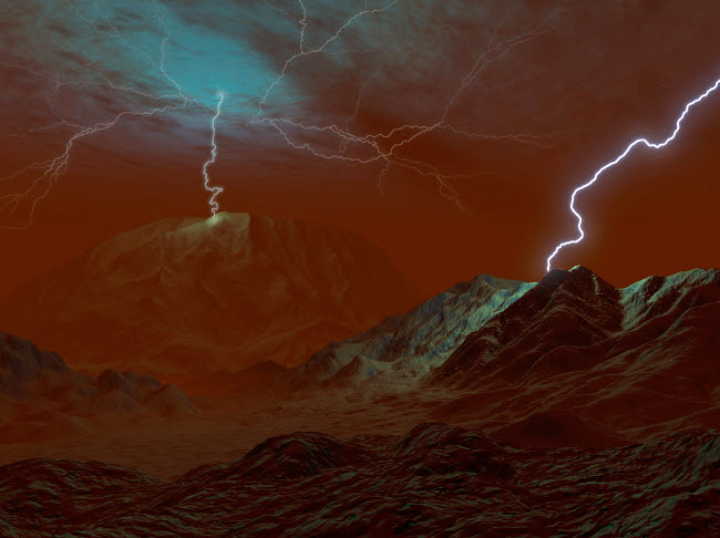 WMY100123S © Stocktrek Images, Inc. Artist's concept of lightning in Venus' clouds.