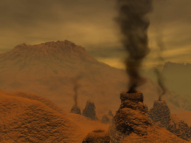 WMY100124S © Stocktrek Images, Inc. Artist's concept of volcanic activity on the surface of Venus.