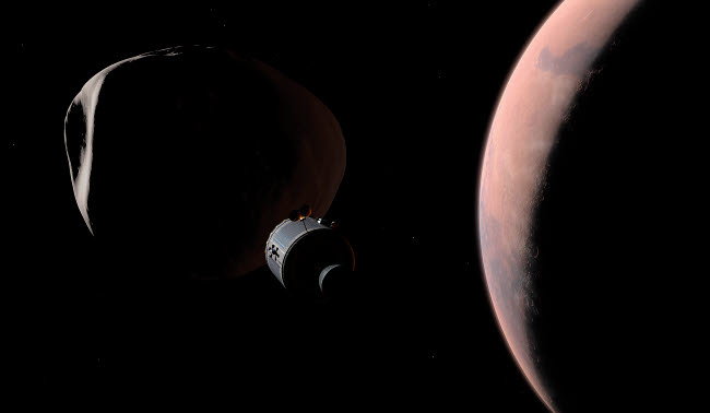 WMY100125S © Stocktrek Images, Inc. A command module begins a close approach to Phobos.