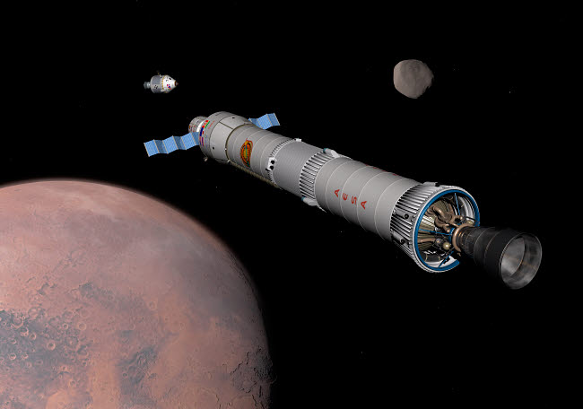 WMY100133S © Stocktrek Images, Inc. The Phobos mission rocket prepares for approach to the martian moon.