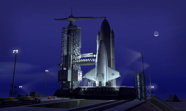WMY100134S © Stocktrek Images, Inc. A futuristic space shuttle awaits launch.