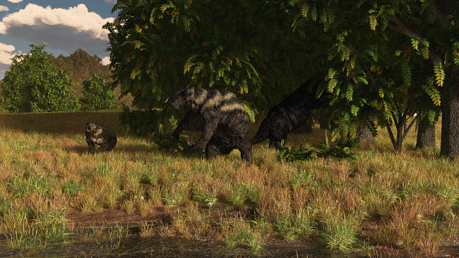 ADR600050P © Stocktrek Images, Inc. Arctodus approaches a pair of Eremotherium browsing the trees.