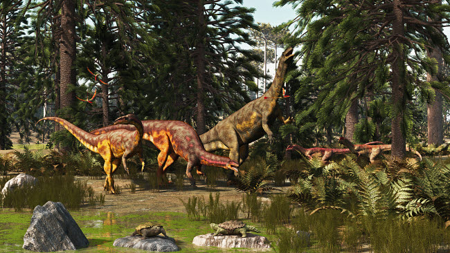 ADR600059P © Stocktrek Images, Inc. A late Triassic scene with Plateosaurus and Liliensternus dinosaurs.