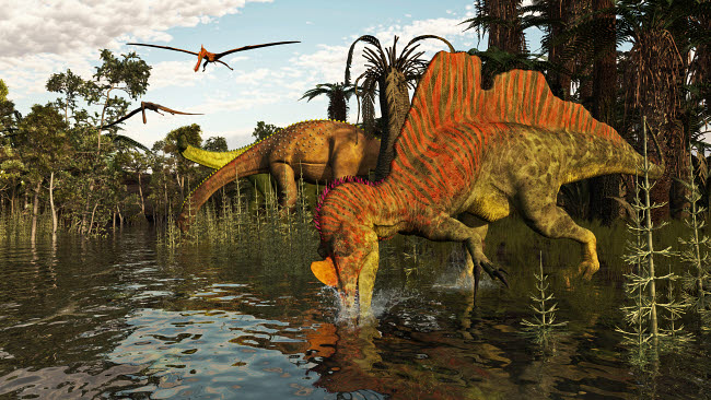 ADR600098P © Stocktrek Images, Inc. A Spinosaurid and pair of Ichthyovenator dinosaurs hunting for fish.