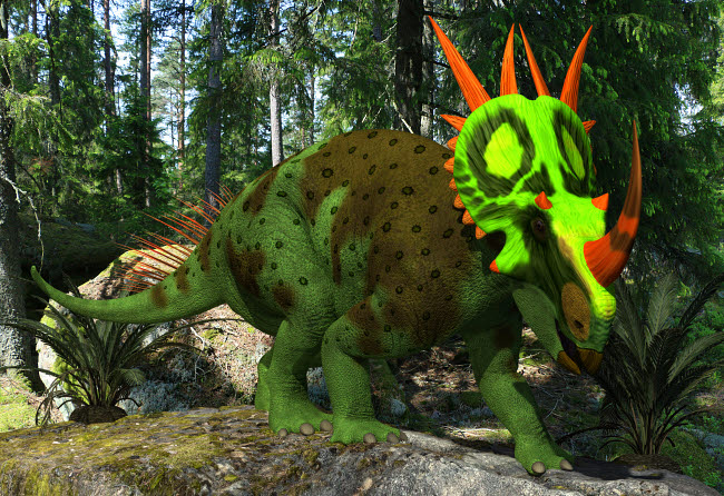 ADR600104P © Stocktrek Images, Inc. A forest green Rubeosaurus in a prehistoric environment.