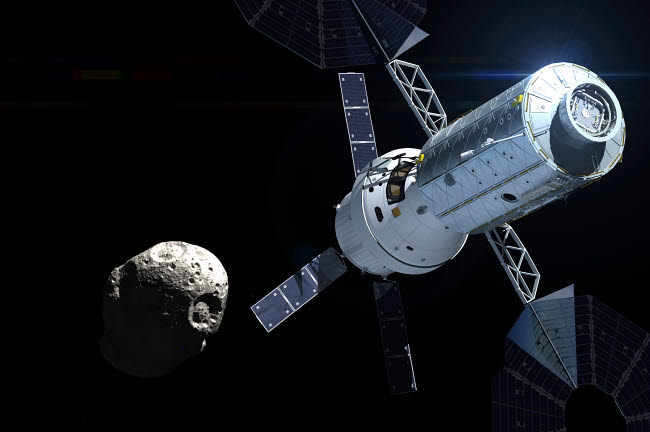 AEM200001S © Stocktrek Images, Inc. Orion module orbiting an asteroid.